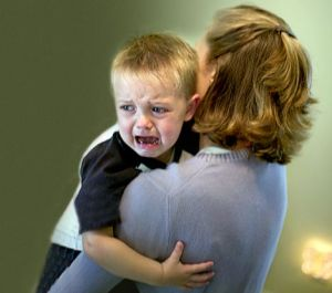 Mother quieting a crying child