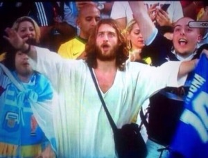 Jesus cheering us on