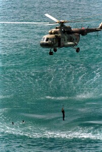 """Exercise """"Taming the Dragon - Dalmatia 2002"""" in Croatia - Search and Rescue operation using a MI8 helicopter"""
