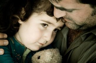 Parent calming a child