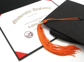 an isolated generic college diploma with cap and tassel