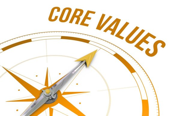 Core values against compass