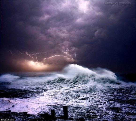 Lightening storm over the Ocean Psalm 29