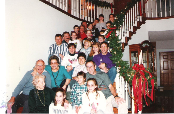Family together at Christmas