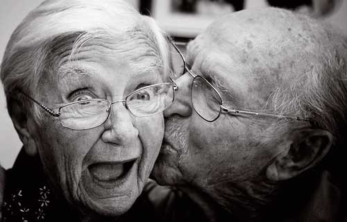 two old people laughing